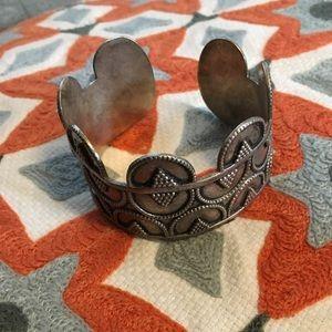 Vintage Geometric Aztec Silver Bracelet Cuff